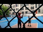Amazing Spiderman 2 in Chinatown. Andrew Garfield took a break to play basketball with local kids