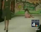 Anchor laughs at model falling down twice