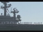 Sailors man the rails as USS Ronald Reagan depart San Diego